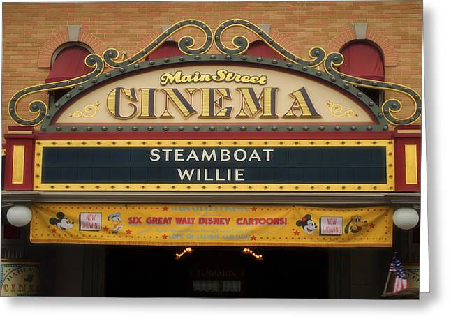 Main Street Greeting Cards - Steam Boat Willie Signage Main Street Disneyland 02 Greeting Card by Thomas Woolworth