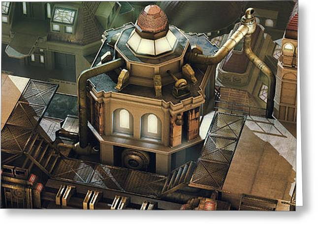Steam-punk Greeting Cards - Steam City Greeting Card by Marc Orphanos