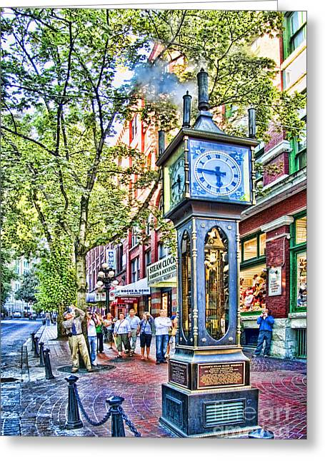 British Columbia Greeting Cards - Steam Clock in Vancouver Gastown Greeting Card by David Smith
