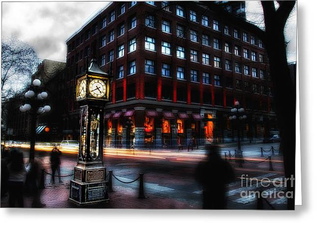 Commercial Photography Pyrography Greeting Cards - Steam Clock Greeting Card by Jack Vainer