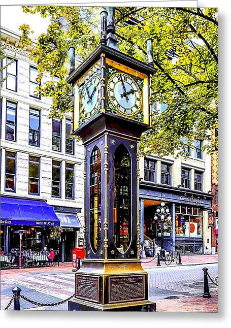 Cambie Bridge Greeting Cards - Steam Clock Greeting Card by Jon Burch Photography