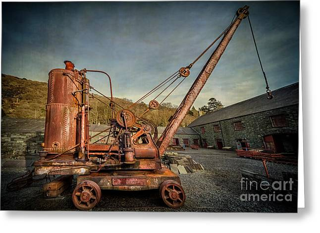 Leeds Greeting Cards - Steam Crane Greeting Card by Adrian Evans