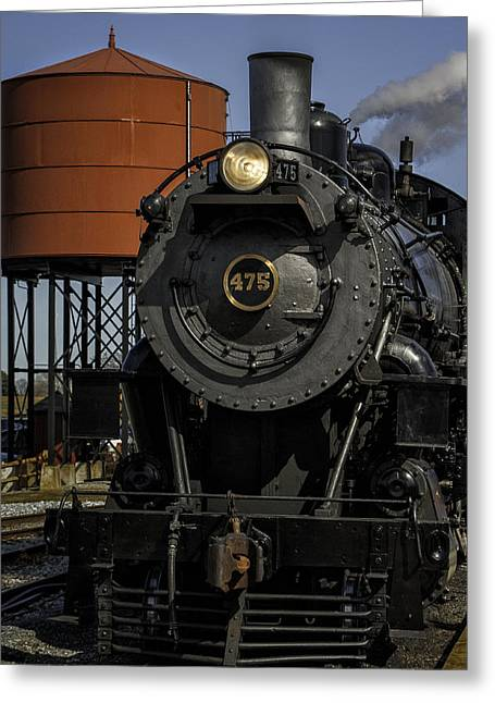 Steam Engine #475 Pulling Into The Strasburg Rr Station  01 Greeting Card by Mark Serfass