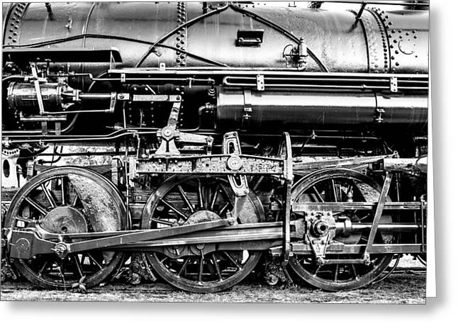 Steam Locomotive Greeting Cards - Steam Engine Drive Train Greeting Card by Geoff Mckay