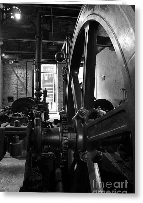 Cog Greeting Cards - Steam engine flywheel at Lockes distillery BW  Greeting Card by RicardMN Photography