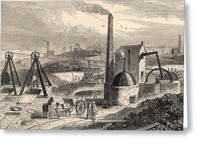 Steam Engine For Raising Coal Greeting Card by Universal History Archive/uig
