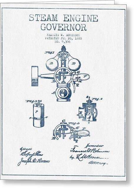Steam Engine Greeting Cards - Steam Engine Governor Patent Drawing From 1880- Blue Ink Greeting Card by Aged Pixel