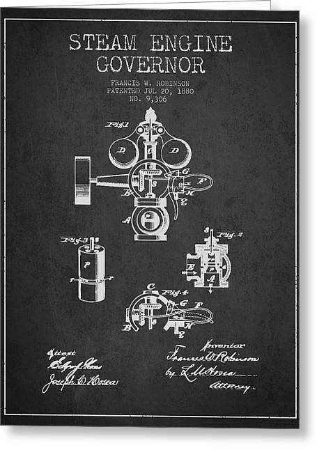 Steam Room Greeting Cards - Steam Engine Governor Patent Drawing From 1880- Dark Greeting Card by Aged Pixel