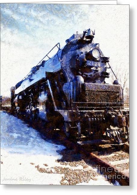 National Park Mixed Media Greeting Cards - Steam Engine Locomotive 2124 Greeting Card by Janine Riley