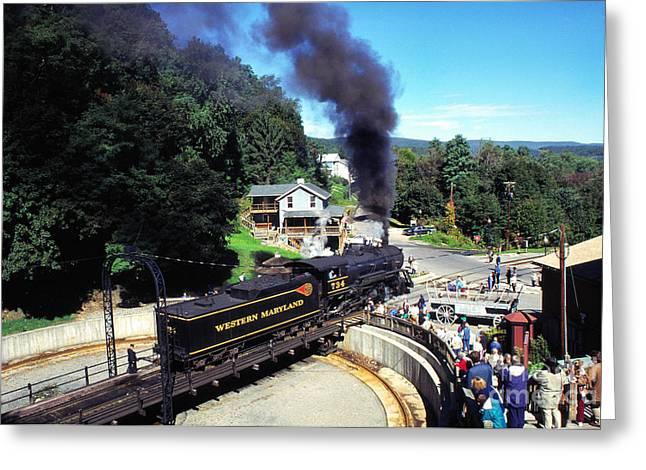 Steam Engine On Turnstile Greeting Card by Thomas R Fletcher