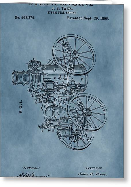 Steam Engine Patent Blue Greeting Card by Dan Sproul