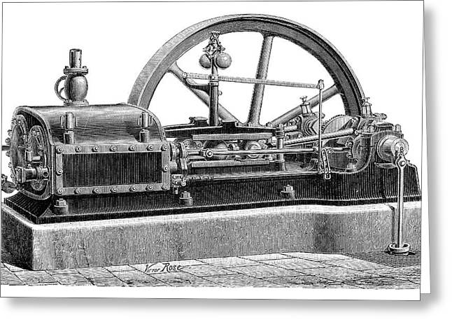 Steam Engine Greeting Card by Science Photo Library