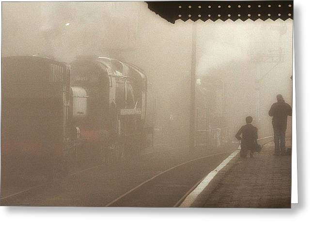 Pannier Greeting Cards - Steam engines at dawn Greeting Card by Tony Mills
