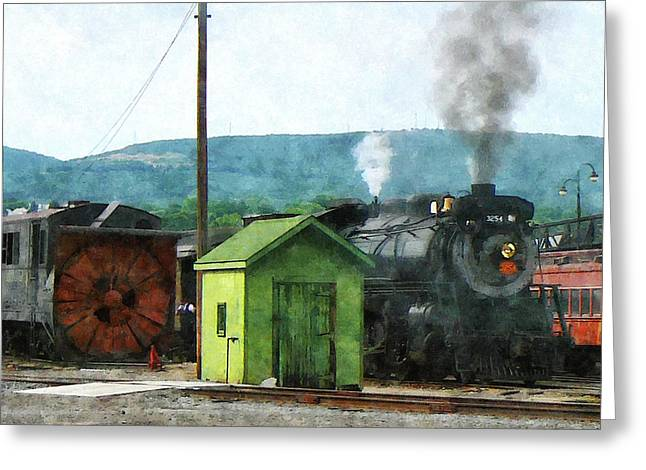 Steam Locomotive Coming Into Train Yard Greeting Card by Susan Savad
