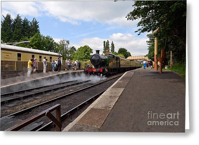 Wark Photographs Greeting Cards - Steam locomotive 4270 arrives at Toddington Station Greeting Card by Louise Heusinkveld