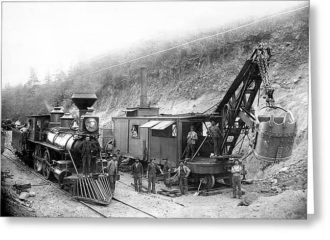 Back Country Greeting Cards - STEAM LOCOMOTIVE and STEAM SHOVEL 1882 Greeting Card by Daniel Hagerman