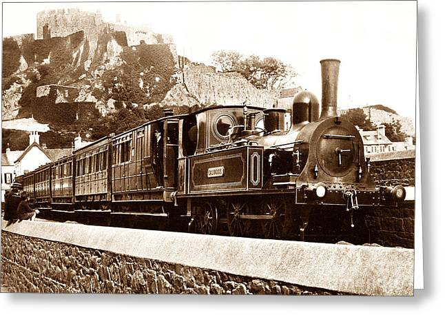 Gorey Greeting Cards - Steam locomotive Calvados Jersey Greeting Card by The Keasbury-Gordon Photograph Archive