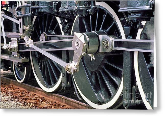 Steam Locomotive Coupling Rod and Driver Wheels Greeting Card by Wernher Krutein