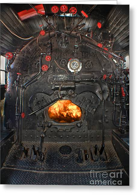 Mechanism Photographs Greeting Cards - Steam Locomotive Fire Tube Firebox Greeting Card by Gary Keesler