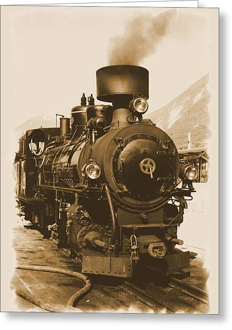 Steam Locomotive Greeting Cards - Steam Locomotive Greeting Card by Ha Ko