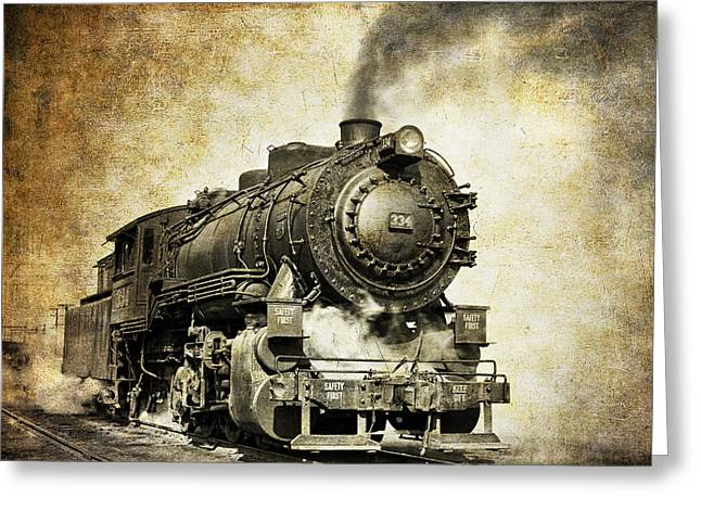 Classic American Railroad Greeting Cards - Steam Locomotive No. 334 Greeting Card by Daniel Hagerman
