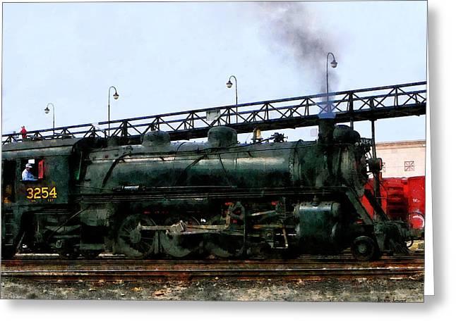 Steam Engine Greeting Cards - Steam Locomotive Greeting Card by Susan Savad