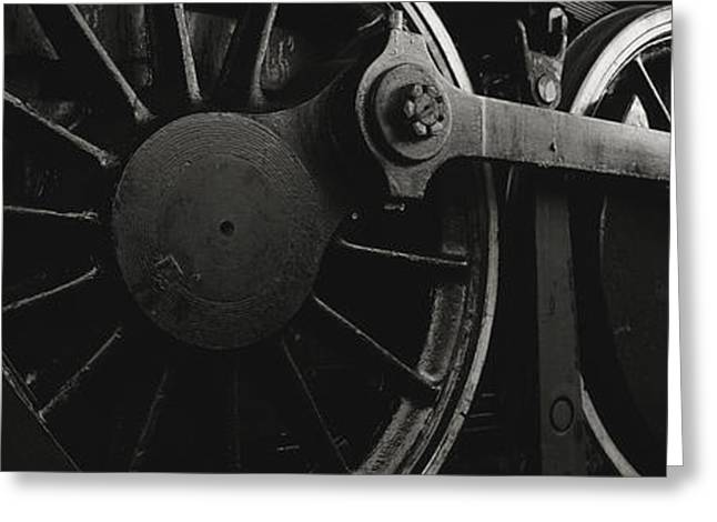 Rotation Photographs Greeting Cards - Steam Locomotive Wheels Greeting Card by Panoramic Images
