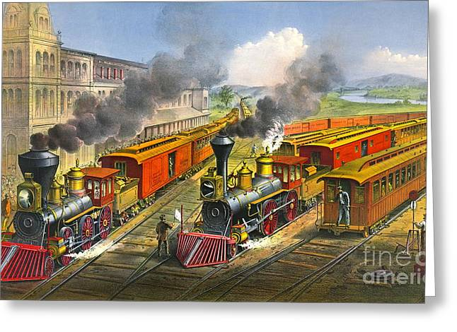 Steam Locomotives 1874 Greeting Card by Padre Art