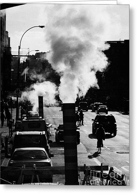 Manhaten Greeting Cards - Steam Pipe Vent Stack New York City Street Manhattan Greeting Card by Joe Fox