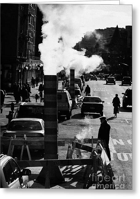 Edison Greeting Cards - Steam Pipe Vent Stack Venting New York City Manhattan Greeting Card by Joe Fox