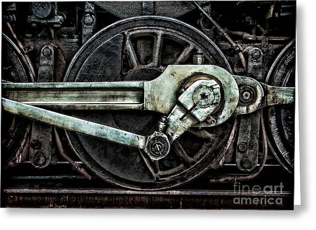 Locomotive Wheels Greeting Cards - Steam Power Greeting Card by Olivier Le Queinec