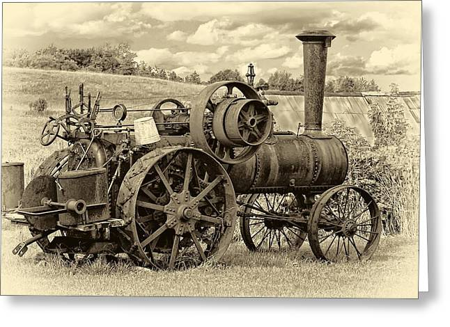 Tractor Prints Greeting Cards - Steam Powered Tractor sepia Greeting Card by Steve Harrington