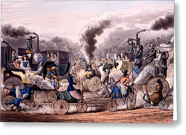 Coach Drawings Greeting Cards - Steam-powered Vehicles Greeting Card by English School