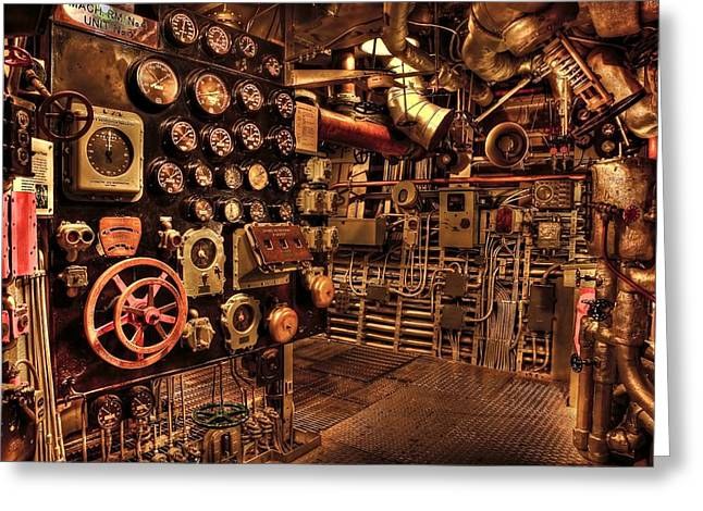 Grate Greeting Cards - Steam Punk Battleship Engine Room Greeting Card by Movie Poster Prints