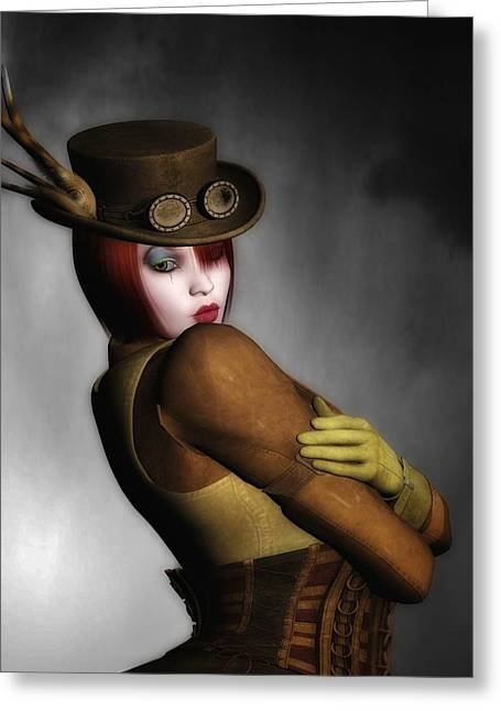 Industrial Background Mixed Media Greeting Cards - Steam Punk Woman 2 Greeting Card by Todd and candice Dailey
