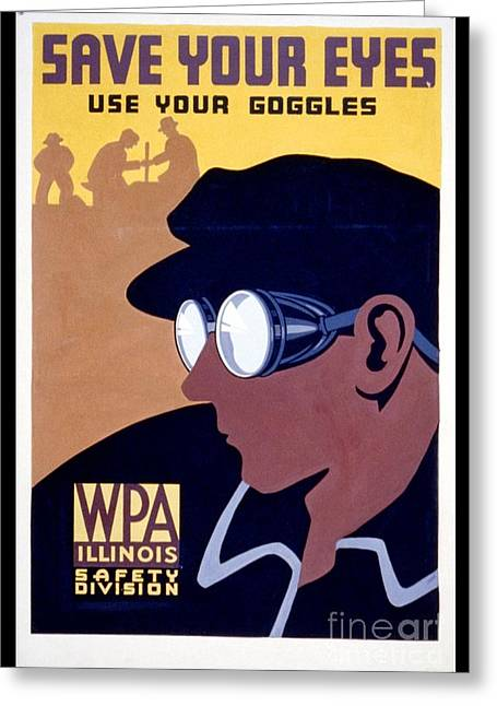 Steam-punk Greeting Cards - Steam Punk WPA Vintage Safety Poster Greeting Card by Wpa