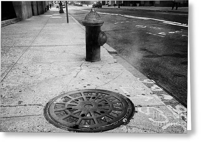 Manhaten Greeting Cards - Steam Rising From Dpw Manhole Cover On Sidewalk With Old Fashioned Fire Hydrant New York City Greeting Card by Joe Fox