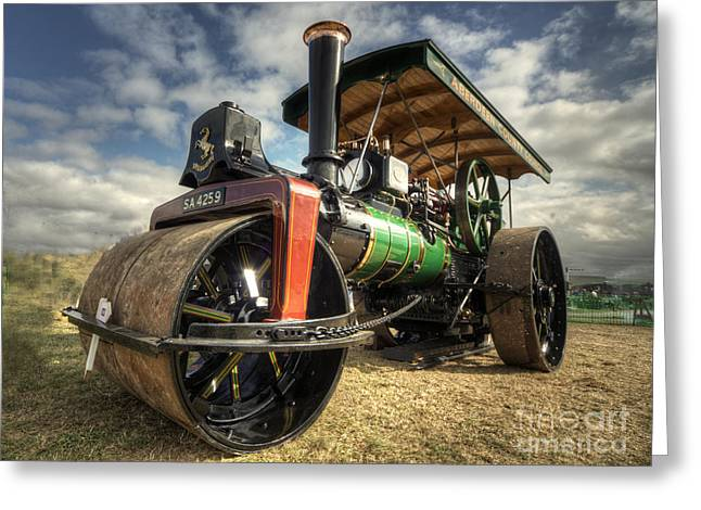 Road Roller Greeting Cards - Steam Rolling  Greeting Card by Rob Hawkins