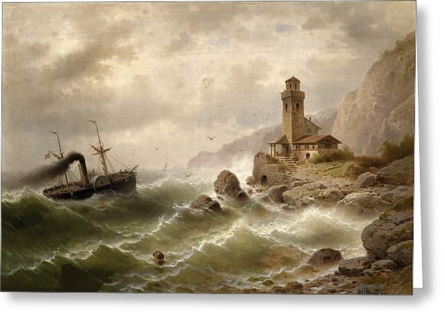 Steam Ship Greeting Cards - Steam ship off the coast Greeting Card by Albert Rieger