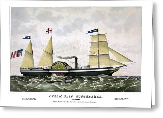 Historic Ship Greeting Cards - Steam ship Southerner Greeting Card by Pablo Romero