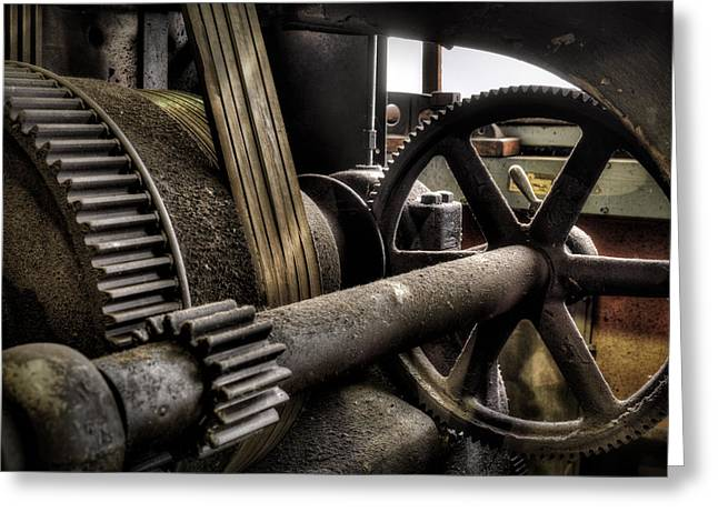 Old Gears Greeting Cards - Steam Shop Detail Greeting Card by Donald Schwartz