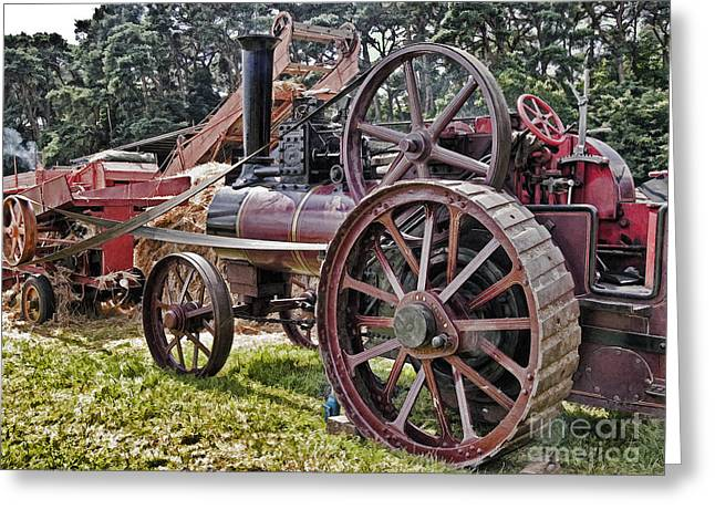 Countrylife Greeting Cards - Steam Threshing At Harvest Time Greeting Card by Peter Chapman