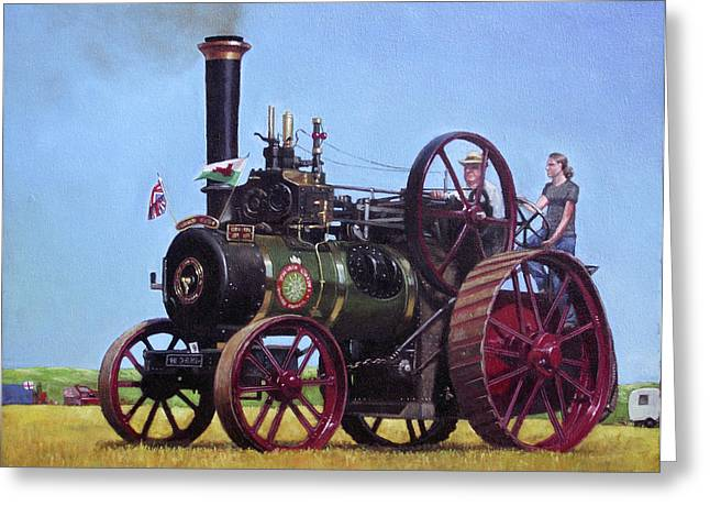 Road Roller Greeting Cards - steam traction engine Ransomes Sims and Jefferies General Purpose Engine Greeting Card by Martin Davey
