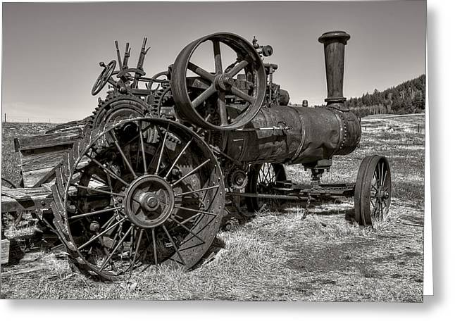 Gears Wheel Greeting Cards - Steam Tractor - Molson Ghost Town Greeting Card by Daniel Hagerman
