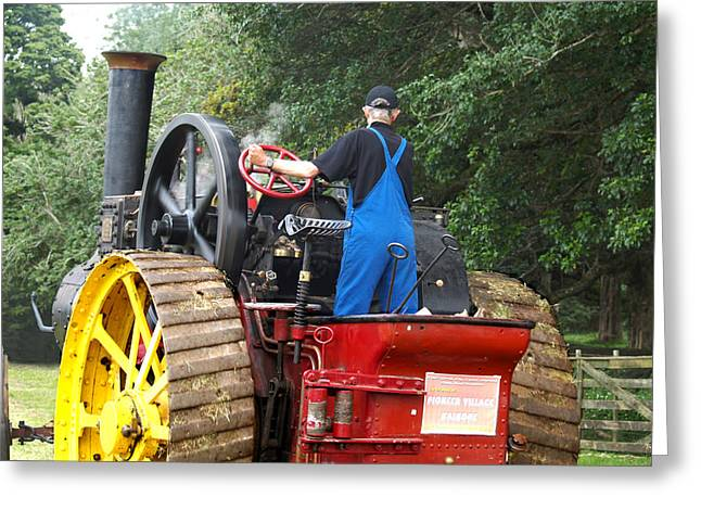 Steam Greeting Cards - Steam Tractor Moves On 2 Greeting Card by Patricia Howitt