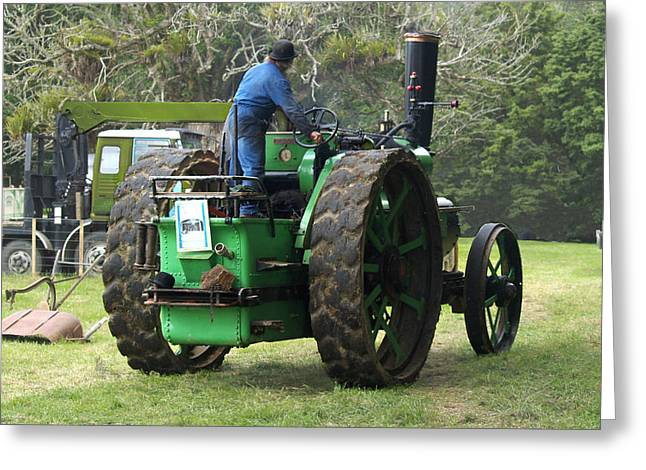 Steam Greeting Cards - Steam Tractor Moves On Greeting Card by Patricia Howitt