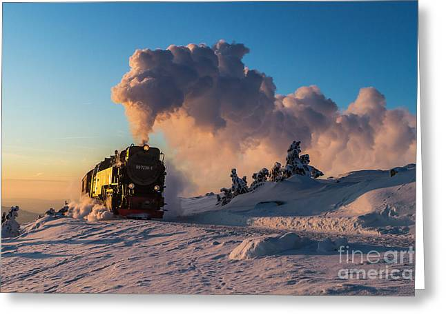 Brocken Greeting Cards - Steam train at sunset Greeting Card by Christian Spiller