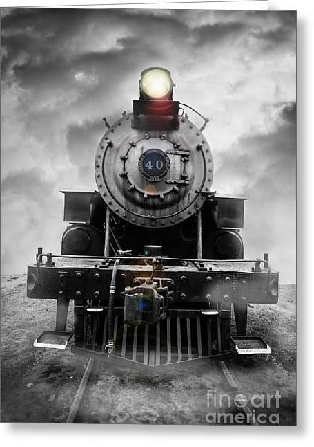 Vintage Transportation Greeting Cards - Steam Train Dream Greeting Card by Edward Fielding