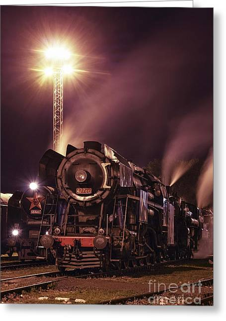 Greeting Cards - Steam Train In The Night Iii. Greeting Card by Martin Dzurjanik