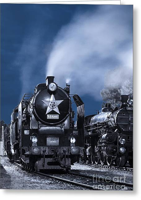 Greeting Cards - Steam Train In The Night Greeting Card by Martin Dzurjanik